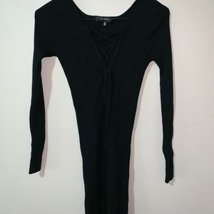 Tie up front, black knit dress